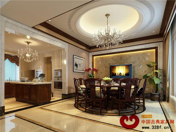 客厅 中式是一个非常传统的风格,打破常规理念,寻求中式风格的新风范,在中式的大气和现代的奢华中寻求一个折中点,使得两种风格能够搭配的效果更佳出色。  餐厅 餐厅是人日常除了卧室是最重要的一个地方,本次的方案设计考虑的主人需要中西厨必须兼有,以浓重的色彩作为厨房的基调,配合以中央岛台,和中式餐桌,整个空间气度非凡,与中式结合相得益彰。  卧室 卧室设计基调为深褐色,符合主人的年龄及品味,卧室背景墙以软包为主要装饰,结合木质的弓形吊顶,空间深沉富有品味。
